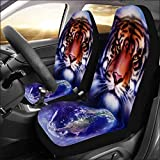INTERESTPRINT Universal Fit Custom Painting Tiger on Color Cosmic Space Protector Two Front Car Seat Covers Set -100% Breathable