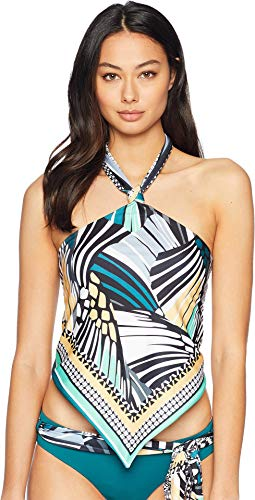 Becca by Rebecca Virtue Women's Reversible High Neck Halter Tankini Top Black/Fern L ()