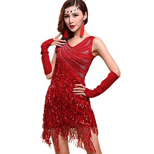 - WILLLIN Womens Black Red Blue Ballroom Latin Tango Rumba Cha Cha Samba Dance Dress (M, Red)