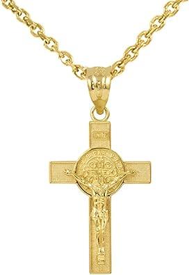 Fine 14k Yellow Gold Saint Benedict Reversible Cross Key Pendant