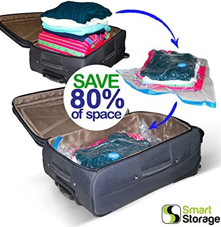 Smart Storage Vacuum Storage Bags, 16 Pack Space Saver Bags for Clothes, Pillows & Bedding, Travel Luggage   Vacuum Seal Storage Bags