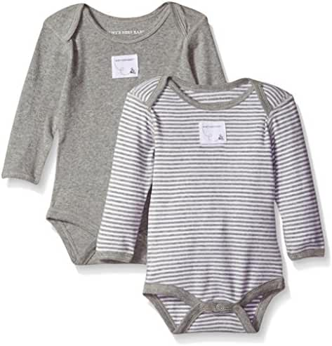 Burt's Bees Baby Girls' Set of 2 Essentials Long Sleeve Bodysuits, 100% Organic Cotton