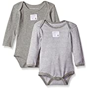 Burt's Bees Baby Set of 2 Bee Essentials Long Sleeve Bodysuits, Heather Grey, 0-3 Months