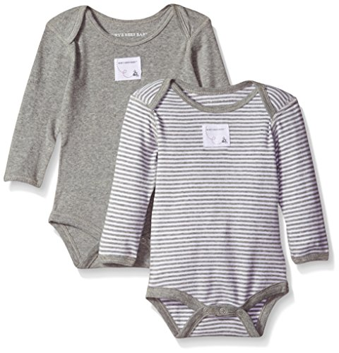 Burt's Bees Baby Unisex Baby, 2-Pack Long Sleeve & Short Sleeve One-Piece Bodysuits, Organic Cotton, Grey/Stripes, 3-6 Months