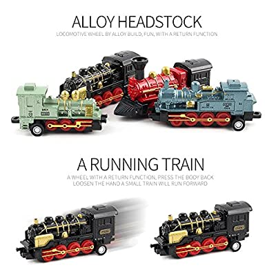 CORPER TOYS Mini Train Toy Die-Cast Pull Back Steam Train Model Set Assorted Styles for Kids Boys - 4 PACKS (16 pieces): Toys & Games