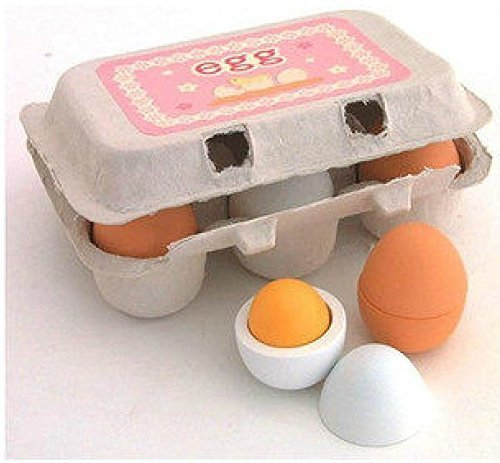 DecentGadget 6 Wooden Play Eggs in Carton Pretend Play Pre-school Educational Toy Kitchen Food Toy by DecentGadget]()