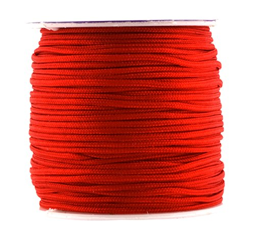 Mandala Crafts Nylon Satin Cord, Rattail Trim Thread for Chinese Knotting, Kumihimo, Beading, Macramé, Jewelry Making, Sewing (1.5mm 65 Yards, Red)