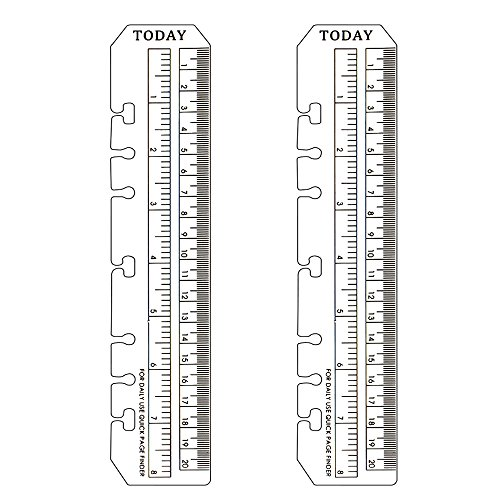 DDAYUP 2Pcs Clear Plastic Page Marker Pouch Pagefinder Measuring Today Ruler for A5 Size 6-Hole Binder Notebook ()
