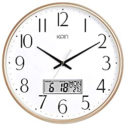 Kpin Classic Wall Clock 13 Inch Large Non Ticking Quiet Round Quartz Clock for Living Room/Office (Light Gold, 13 LCD)