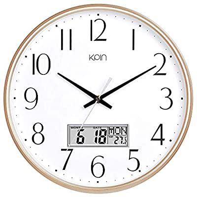 """Kpin Classic Wall Clock 13 Inch Large Non Ticking Quiet Round Quartz Clock for Living Room/Office (Light Gold, 13"""" LCD) - Clear black bold numbers against white face creates easy viewing.Precise quartz movements guarantee accurate time. Sturdy plastic frame and glass lens make it easy to clean and keeps dust away from dial. Large LCD display for Date(mm/dd),the day of week,Indoor Temperature(C/F).Note:Make sure to input the correct time on the LCD display,to get the date update correctly. - wall-clocks, living-room-decor, living-room - 51Qbsm3fqIL. SS400  -"""