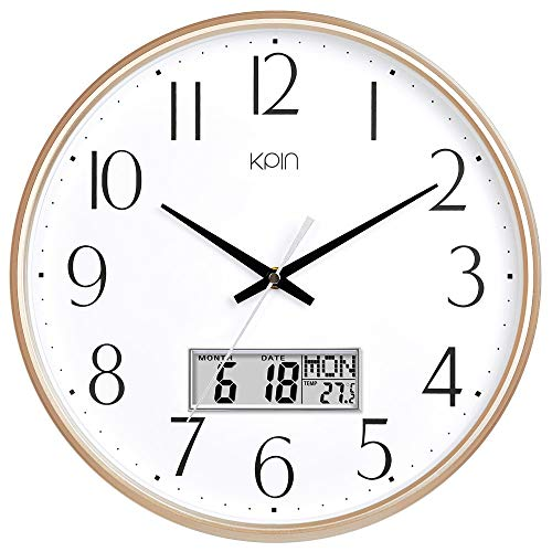 Kpin Classic Wall Clock 13 Inch Large Non Ticking Quiet Round Quartz Clock for Living Room/Office (Light Gold, 13