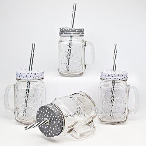 BADA BING 4er Set Trinkglas Stern grau weiß mit Deckel Strohhalm + Trennkost