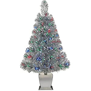 Colorful Fiber Optic Silver Artificial Christmas Tree 32 inch with Stand. Perfect for Small Spaces or Tables 67