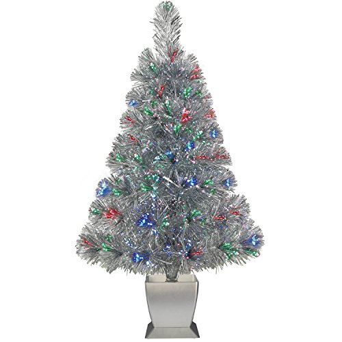 Colorful Fiber Optic Silver Artificial Christmas Tree 32 inch with Stand. Perfect for Small Spaces or Tables Fiber Optic Trees
