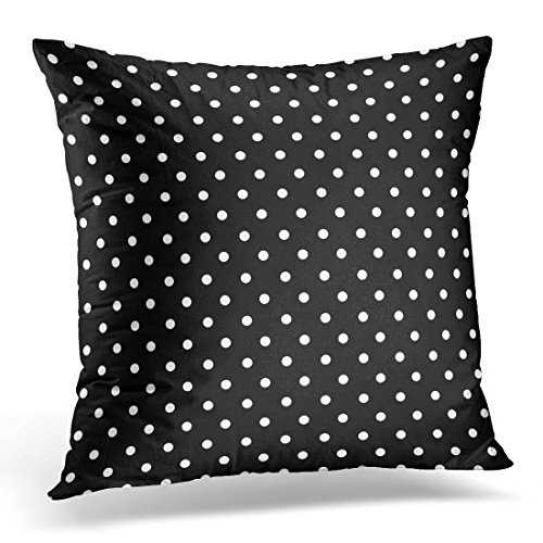 VANMI Throw Pillow Cover Black Polkadots Polka Dots White Color Decorative Pillow Case Home Decor Square 18 x 18 Inch ()