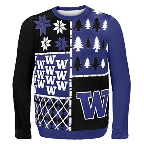 Husky Mens Basketball - Klew NCAA Busy Block Sweater, X-Large, Washington Huskies
