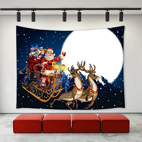 LBKT Christmas Day Tapestry Wall hanging Santa Claus Reindeer Sending Christmas Gifts Presents in the Moon Night Pattern Tapestries Wall Decor Art Home Decoration for Bedroom Living Room Dorm Decor