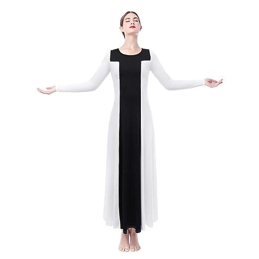 5fe09f76240 Women Long Sleeve Loose Fit Fabulous Two Tone Maxi Tunic Swing Dresses  Liturgical Praise Full Length