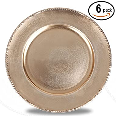 Fantastic:)™ 6pcs/Set Classic Design Round 13 x13  Charger Plates with Metallic Finish (Set of 6, Beaded Gold)