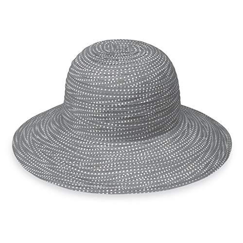 Wallaroo Hat Company Women's Petite Scrunchie Sun Hat - Grey/White Dots - UPF 50+