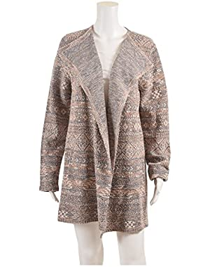 Women's Gray Aztec Open-front Wrap Cardigan