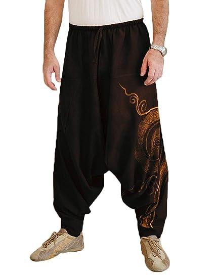 2a4fc64e2699 Douhoow Mens Boho Hippie Baggy Wide Leg Harem Pants Casual Lounge Pants at  Amazon Men s Clothing store