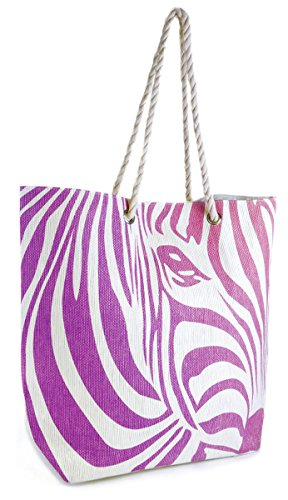 Straw Pink Womens Summer Large Ombre Zebra Purple Beach Design Swim Pool Tote Shopping Bag aatqOrw