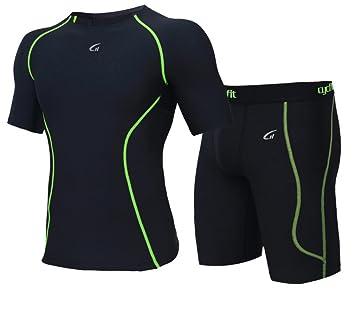 LUCKY-U Camiseta De Ciclismo para Hombre, Camiseta De Compresión Fitness Running Gym Wear