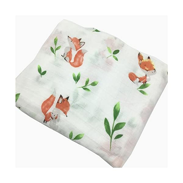 HGHG Baby Muslin Swaddle Blanket Your Receiving Blanket Fox and Leaves Print 47inches (Nice Squirrel)