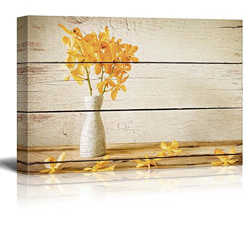 Yellow Flowers in a White Vase Rustic Floral Arrangements Pastels Colorful Beautiful Wood Grain Antique