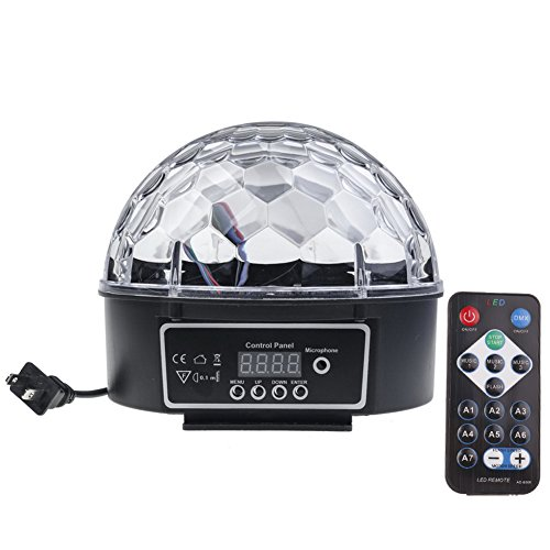 Welcome HK Crystal Sound Activated LED Stage Light 6 Colors for Halloween, Christmas, Home, Birthday, Karaoke, Dance Party (6 Color & remote control) by Welcome HK