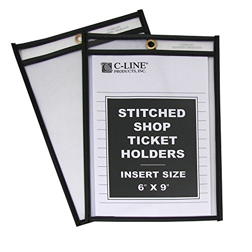 C-Line Stitched Shop Ticket Holders, Both Sides Clear, 6 x 9 Inches, 25 per Box (46069)
