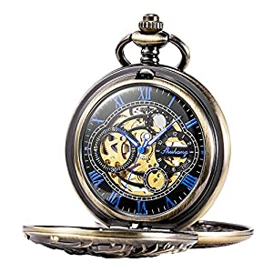 TREEWETO Mechanical Pocket Watch Dream Dragon Skeleton Half Hunter Double Open Silver/Bronze/Black Case