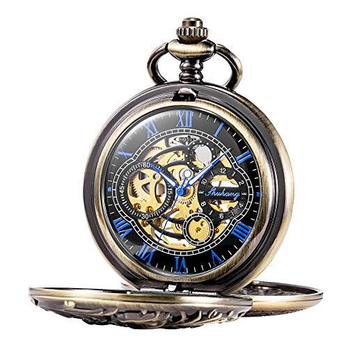Treeweto Antique Brone Dragon Mechanical Skeleton Pocket Watch with - Pocket Compass Watch