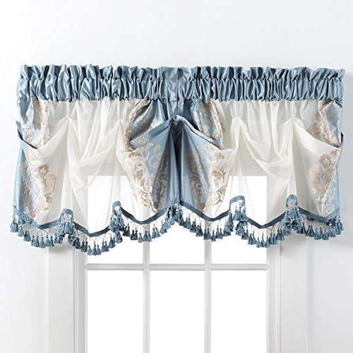 Danbury Embroidered Window Treatments By GoodGram® - Assorted Colors And Sizes (Blue, Single Valance) - Window Valances Blue