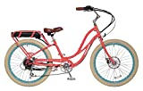 "Pedego Comfort Cruiser 26"" Step Thru Coral with White Wall Tires 36V 15Ah"