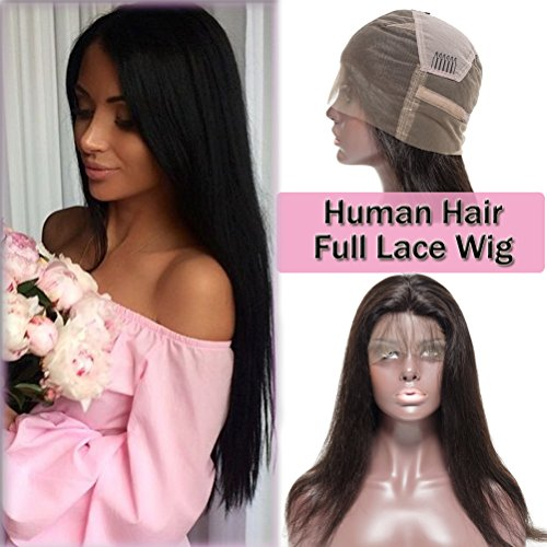 Wigs French Lace Full (Long Straight Full Lace Wigs 100% Virgin Human Hair for Women Daily or Party Dress Unprocessed Brazilian Bob Wig (12'' with 130% density, off black))