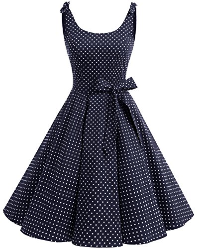 Bbonlinedress 1950's Bowknot Vintage Retro Polka Dot Rockabilly Swing Dress Navy White Dot 3XL