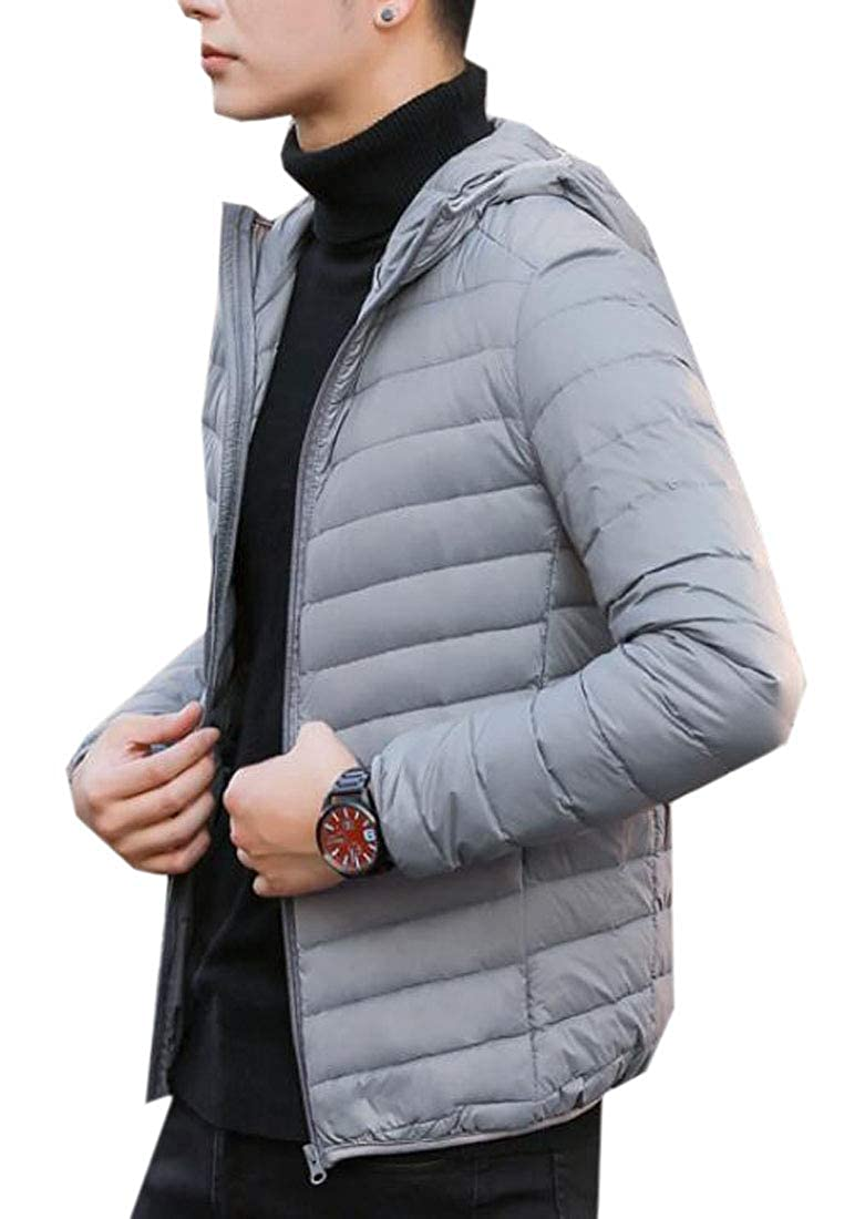 ARTFFEL Mens Athletic Solid Winter Hoodie Relaxed Fit Down Puffer Coat Jacket Outwear