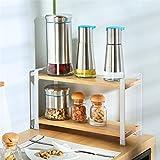 Kitchen 2-Tier Spice Jars Racks Wooden Seasoning Shelf Holder Storage Organizer