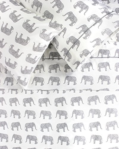 Melange Home 400TC Series Elephants Sheet Set, Queen, Gray -