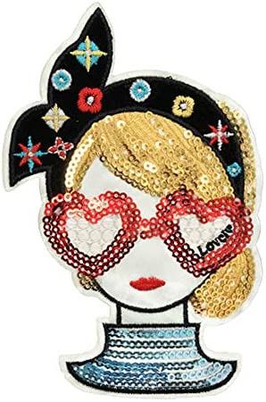スパンコールワッペン アイロン接着 ガール 女の子 アップリケ アイロンワッペン 手芸 雑貨 人気 可愛い ガーリー デコ (Mサイズ(縦14cm×横9cm))
