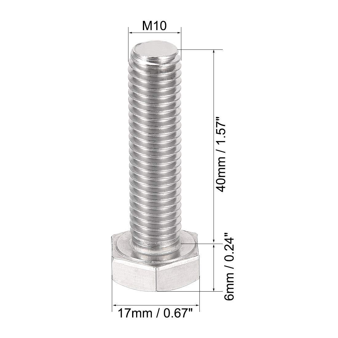 uxcell M8 Left Hand Hex Head Bolt M8-1.25 x 40mm UNC A2-70 Stainless Steel Reverse Threaded Hex Tap Screw Bolts 2pcs 304