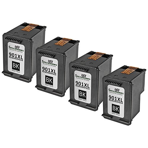 Speedy Inks - 4PK Remanufactured replacement for HP 901XL CC654AN High Yield Black Ink Cartridge For use in HP: G510a, G510g, G510n, J4524, J4540, J4550, J4580, J4624, J4660, J4680, J4680c, 4500 (Hp J4580 Printer Ink)