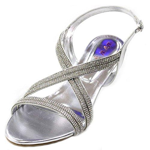 W & W Sandalias de tacón bajo, tarde Diamante ideales para bodas, fiestas, novias, color plateado, dorado (san1010) Plateado - plata