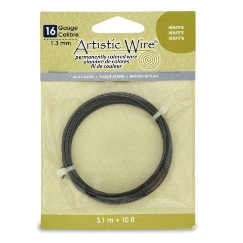Artistic Wire 16S Gauge Wire, Hematite, 10-Feet