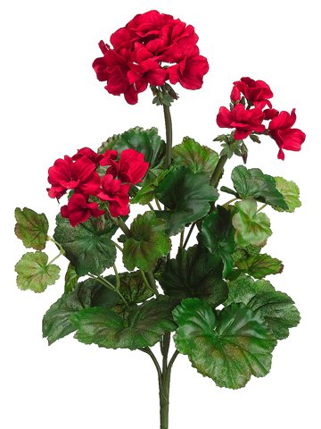 Faux 19 Water-Resistant Geranium Bush x5 RED (Pack of 12) by Allstate Floral