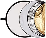 "Polaroid Pro Studio 32"" 5-In-1 Collapsible Circular Reflector Disc, Gold, Silver, Black, White & Translucent Includes Deluxe Carrying Case"