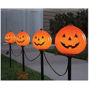 Set of 4 Sylvani Pumpkin Halloween Pathway Marker Lights (15 Inches Tall)