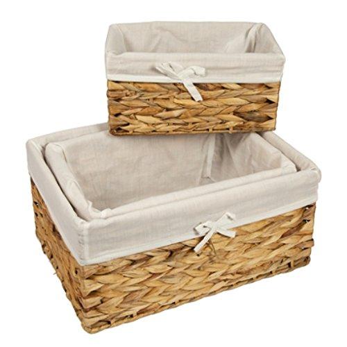 WoodLuv/ cesta con forro Cesta de mimbre de almacenamiento para colocar en estantes tama/ño mediano.